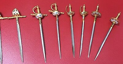 VINTAGE COCKTAIL SWORDS TOLEDO SPAIN Lot OF 8 for hors d'oeuvres