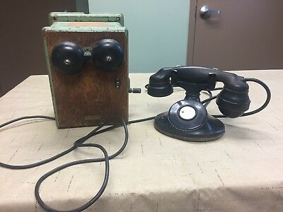 Antique 1929 Western Electric Telephone With No Ringer And Oak 315H Ringer Box