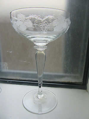 Stunning  Bohemian Grapevine Crystal 16 Cm Tall Champagne Glass