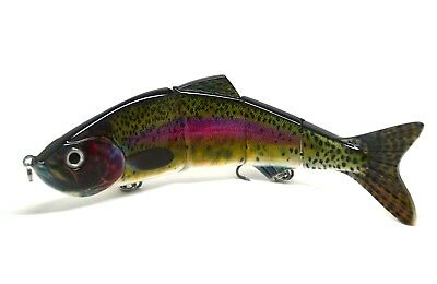 "10"" Multi Jointed Muskie Pike Fishing Bait Lure Swimbait Bass Life Like Rainbow"