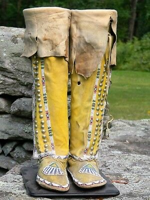 FINE PAIR of ANTIQUE TALL TOP BEADED LADY'S KIOWA MOCCASINS