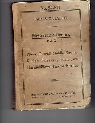 McCormick Deering IHC Plows Farmall Middle Busters Harrows Parts Catalog #84-PO