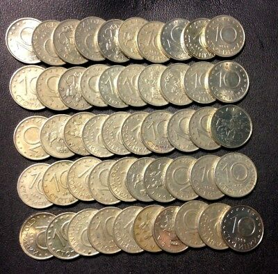 Old Bulgaria Coin Lot - 10 STOTINKI - 50 Excellent Uncommon Coins - Lot #F16