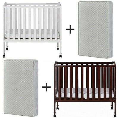 """Crib With 4"""" Mattress Folding Portable Wood Fixed-Side Crib With Wheels 2 Colors"""