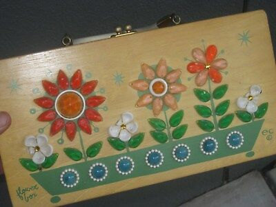 Vintage Wooden Purse by e c Collins of Texas Flower Box 1965