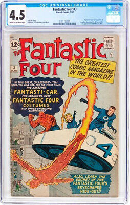 1962 * FANTASTIC FOUR #3 * Marvel Comics * CGC 4.5 VG+ * Rare Off WHITE Pages !!