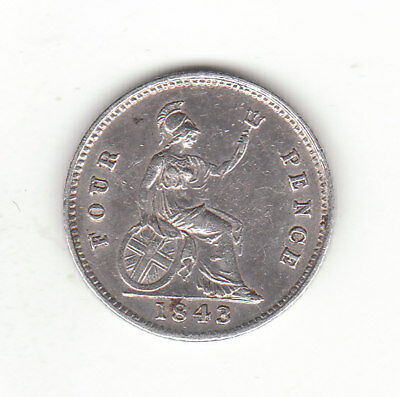 1843 Great Britain Queen Victoria Sterling Silver Fourpence / Groat