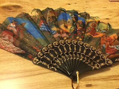 New Spanish Flamenco Vintage Fabric Folding Hand Fan Party Fans Scenic flamenco