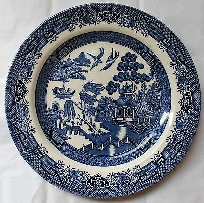 "2X Blue Willow Pattern 10"" Dinner Willow Plates Churchill England"