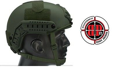 High Cut Ballistic KEVLAR Helmet -OD Green- Dial Retention- Size Small/Medium-