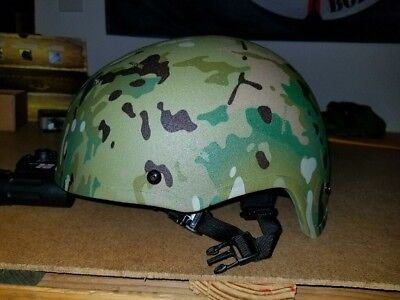 MULTI-CAM Ballistic High Cut  KEVLAR  Helmet- Level IIIA- 4 point suspension