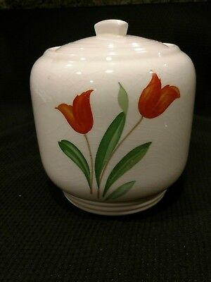 Vintage Knowles Utility Ware Cookie Jar with Tulip Pattern