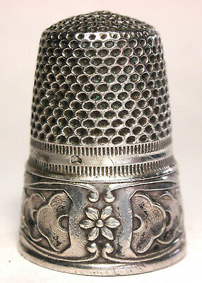 Beautiful Antique Sterling French Art Nouveau Floral Thimble w/Boars Head c1900s