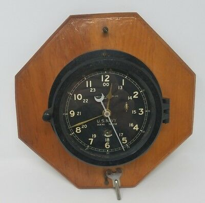 WWII US NAVY Chelsea Ships Clock BOSTON serial 78570E 1941 Needs Work