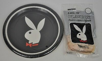 New PLAYBOY Party Plates BLACK Bunny LOGO 9 in Diameter Unique Ind NOS +Balloons
