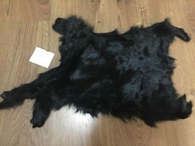 #2 X1 Dyed Black Small Tanned Goat Hide, Skin Fur Pelt Taxidermy Leather Kid