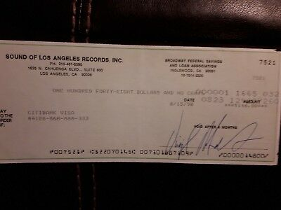 Sound of Los Angeles Records Inc Virgil Roberts signed cheque 1990 SOLAR music