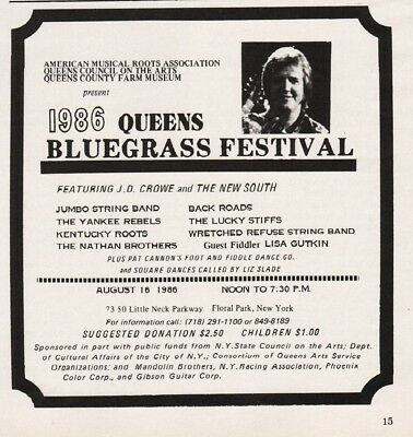 1986 Queens Bluegrass Fest Floral Park NY JD Crowe Yankee Rebels KY Roots Ad