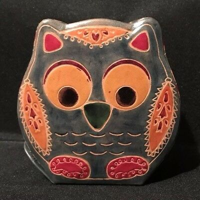 Embossed Leather Owl Coin Bank. Pre-owned.