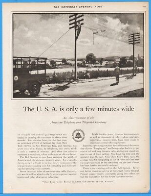 1929 Bell American Telephone Telegraph AT&T Phone Lines Poles Lineman Working Ad