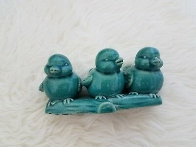 small teal three bird figurine home decor