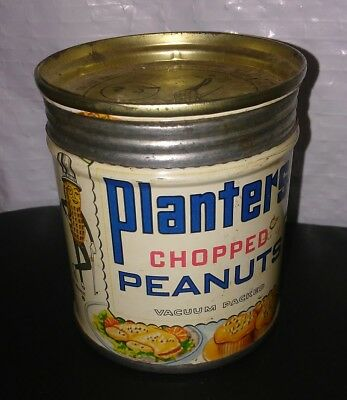 Vintage Planters Chopped Peanuts Vacuum Packed Tin VERY RARE Can