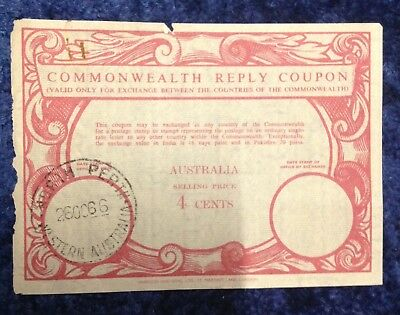 Vintage Commonwealth Reply Coupon. Perth Western Australia. Stamped 1966.