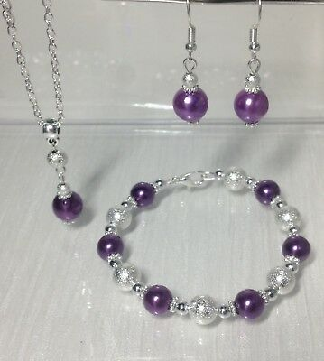 bridal Purple pearl necklace Set Silver Wedding Bridesmaids Gift Jewellery's