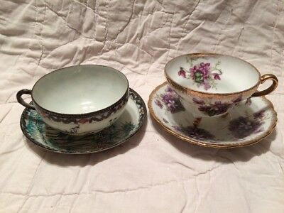 Lot Of 2 Ceramic  Porcelain Decorative Cups And Saucers