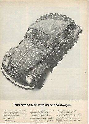 """Original 1969 Volkswagen VW Beetle """"That's how many times we"""" magazine ad"""