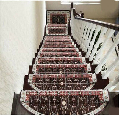 D8 5PCS Skid Resistance Stair Tread Mat Household Step Rug Carpet 24X75CM Z