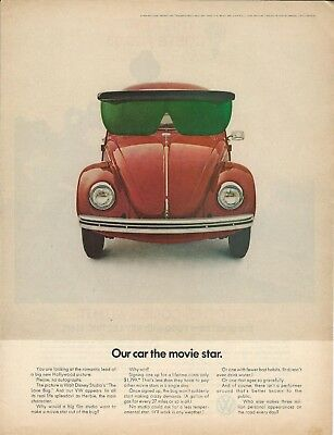 """Original 1969 Volkswagen VW Beetle """" Our car the movie star"""" magazine ad"""