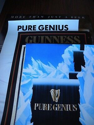 4 x Vintage Guinness Pure Genius Posters Pub Beer Man Cave
