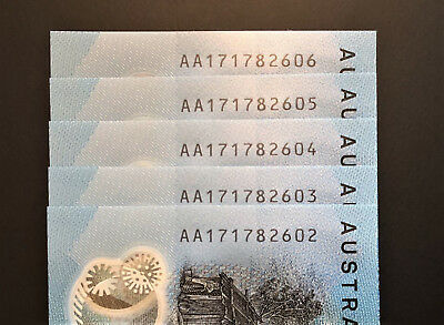Run of 5 x AA17 ** FIRST PREFIX ** 2017 $10 notes * UNC!! Straight from a Bundle