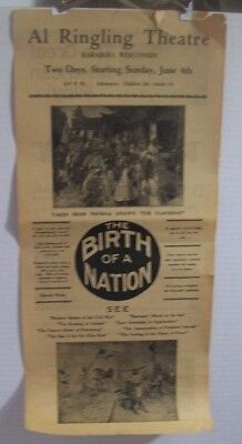 1915 amazing original DS 'BIRTH of a NATION' poster broadside herald 9.75x21.5