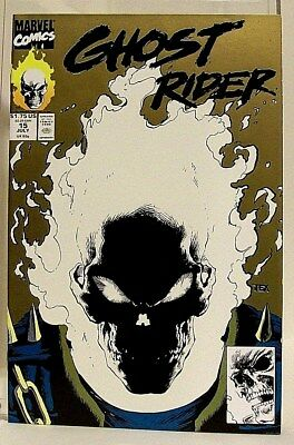 """""""GHOST RIDER"""" Issue # 15 (July, 1991)(Marvel) f.GLOW IN THE DARK COVER gold!"""