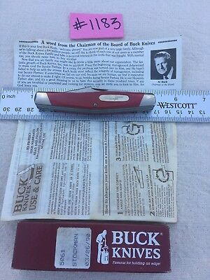 Rare, Vintage, 1989 Buck, Stockman Knife, 301V, 301T4, Red, Made In The Usa