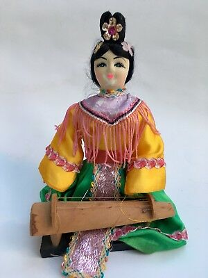 Vintage CHINESE Fabric DOLL WOMAN PLAYING Harp Konghou Wooden base painted Face