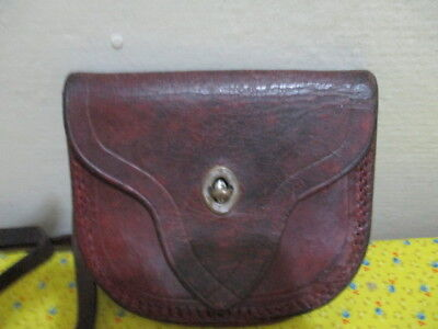 Old Vintage Solid Leather Bus Conductors Money Pouch Vgc 1940's