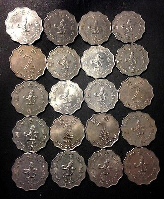 Old Hong Kong Coin Lot - 20 OLDER LARGE Type 2 Dollar Coins - Lot #F17
