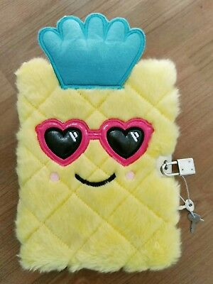 Smiggle fluffy pineapple diary lockable as new condition