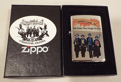 ZIPPO TOMBSTONE AZ Lighter THE TOWN TOO TOUGH TO DIE Matching Box Lid MIB Sealed