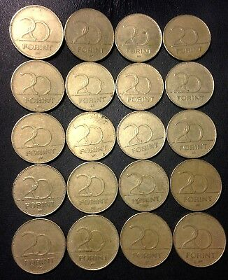 Old Hungary Coin Lot - 20 Forint - 20 Excellent Coins - Lot #F17