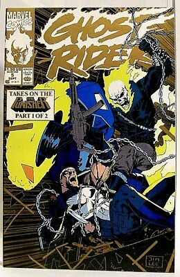 """""""GHOST RIDER"""" Issue # 5 (Sept, 1990) Gold Cover (Marvel Comics) f. THE PUNISHER"""
