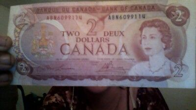 1974 Canada 2 Dollar Note - ARE7850157, BC-47b