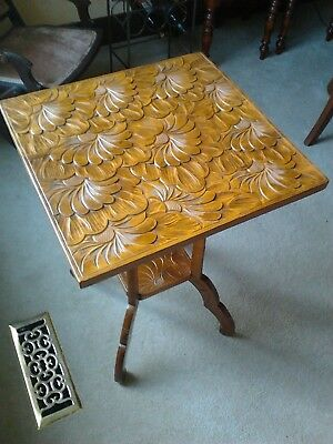 Antique Arts & Crafts carved Japanese Table made for Liberty & Co