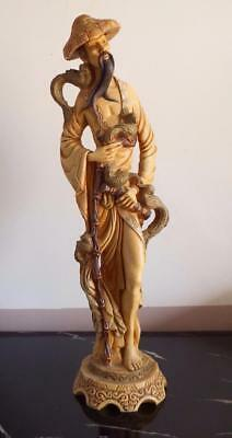 Antique big Chinese hand carved resin statue 50 cm long circa 1920