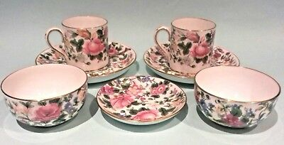 Crown Staffordshire Bone China Thousand Flowers Cup & Saucers  Bowls & Pin Dish