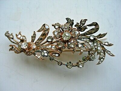 """Antique 19c. Diamond Brooch """"BUNCH of FLOWERS"""" 8-9k. Rose Gold. Russian Royal"""