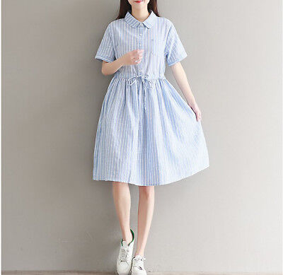14a832c3f5da Cute Peter-pan Collar Korean Style Short Sleeve Loose Striped Long Linen  Dress
